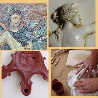 Reproduktionen römischer Mosaike, Figuren und Öllampen
