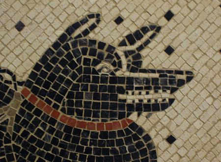 »cave canem«, Detail einer Reproduktion eines römischen Mosaiks