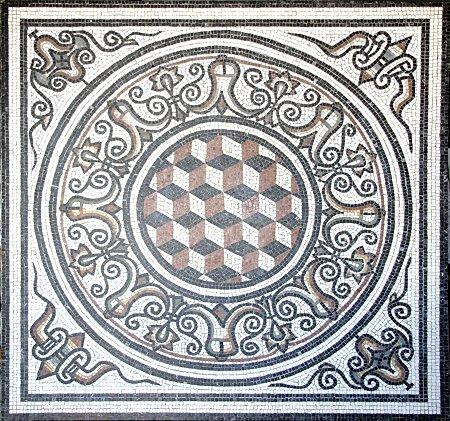 Fragment aus dem Mosaik Die Trunkenheit des Herkules, eine Reproduktion eines römischen Mosaiks